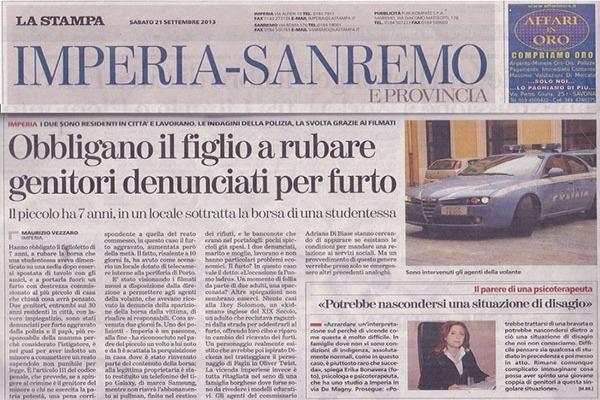 F - La Stampa - Obbligano il figlio a rubare